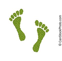 Human Footsteps Made in Green Leaves