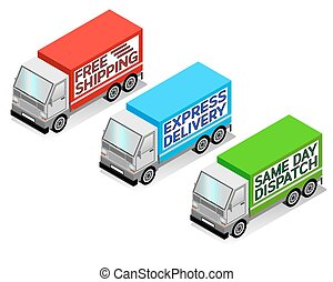 Delivery Trucks - Isometric delivery truck vectors, free...