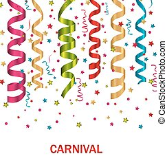 Carnival background with set colorful paper serpentine -...