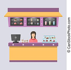 Sweet Shop with Cakes, Ice Creams, - Illustration Sweet Shop...