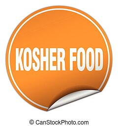 kosher food round orange sticker isolated on white