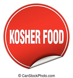 kosher food round red sticker isolated on white