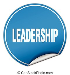 leadership round blue sticker isolated on white
