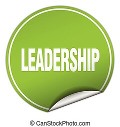 leadership round green sticker isolated on white