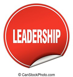 leadership round red sticker isolated on white