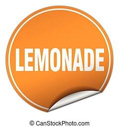 lemonade round orange sticker isolated on white