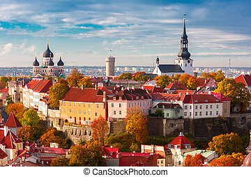 Aerial view old town, Tallinn, Estonia - Toompea hill with...