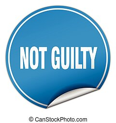 not guilty round blue sticker isolated on white