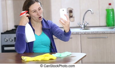Girl doing self with detergents