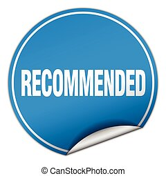 recommended round blue sticker isolated on white