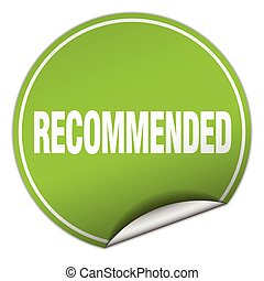 recommended round green sticker isolated on white