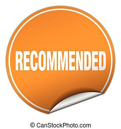 recommended round orange sticker isolated on white