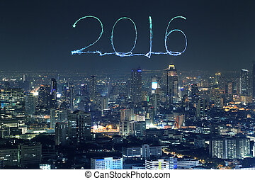 2016 New Year Fireworks celebrating over Bangkok cityscape...