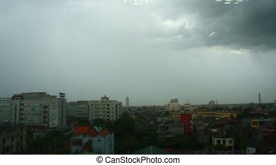 City landscape in rain