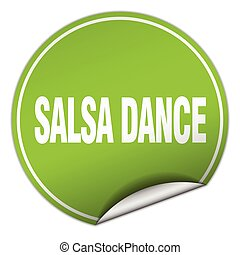 salsa dance round green sticker isolated on white