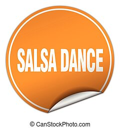 salsa dance round orange sticker isolated on white