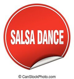 salsa dance round red sticker isolated on white