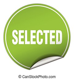 selected round green sticker isolated on white