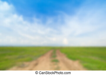 blur image of soil road between grass field with sky