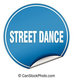 street dance round blue sticker isolated on white