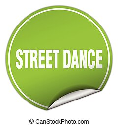 street dance round green sticker isolated on white
