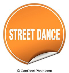 street dance round orange sticker isolated on white