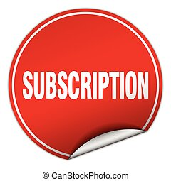 subscription round red sticker isolated on white