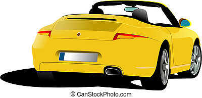 Yellow cabriolet on the road