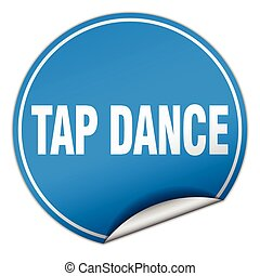 tap dance round blue sticker isolated on white