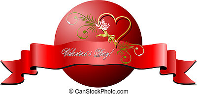 Valentine`s day banner on isolated background