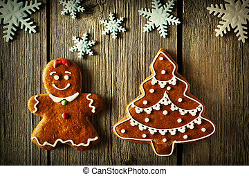 Christmas gingerbread girl and tree cookies - Christmas...