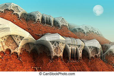 sci-fi background - Alien planet sci-fi background. 3D...