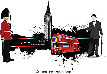 Grunge banner with London and bus images