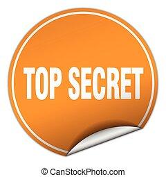 top secret round orange sticker isolated on white