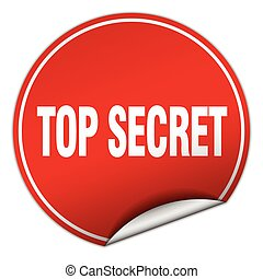 top secret round red sticker isolated on white