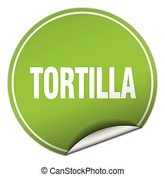 tortilla round green sticker isolated on white