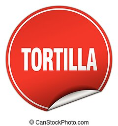 tortilla round red sticker isolated on white