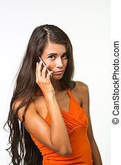 Sad lady on white background - Beautiful girl is speaking by...