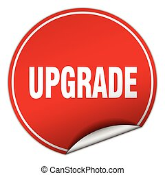 upgrade round red sticker isolated on white