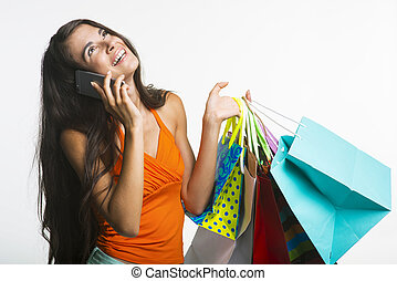 Happy lady on shopping during seasonal discounts - Seasonal...