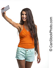 Beautiful lady is having fun on white background. -...