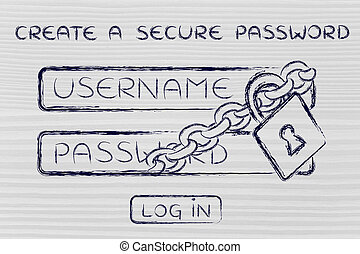 create a secure password, login with lock and chain - lock...