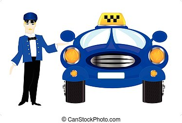 Chauffeur taxi on white background - Chauffeur of the car...