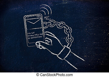 smartphone addiction, illustration of hand chained to a...