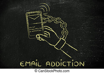 email addiction, illustration of hand chained to a mobile -...