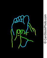 Neon foot massage sign - Neon sign found in salon and...