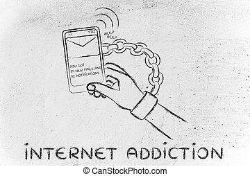 internet addiction, illustration of hand chained to a mobile...