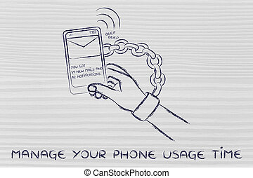 manage your phone usage time, illustration of hand chained...