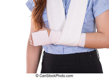 close-up injured arm wrapped in an Elastic Bandage isolated...