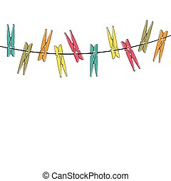 Colorful cartoon clothespins